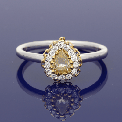18ct White & Rose Gold with Natural Yellow & White Diamond Halo Cluster Ring
