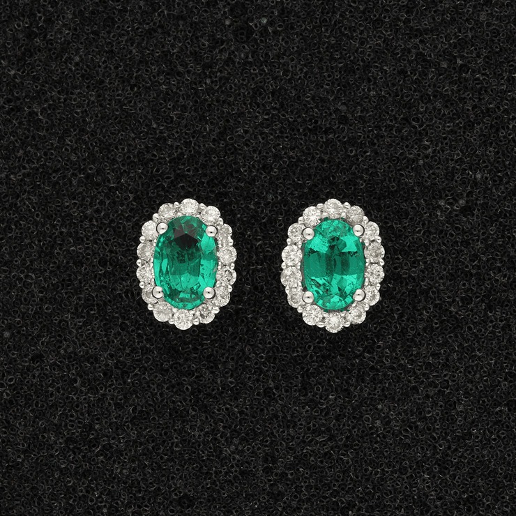 18ct White Gold Oval Emerald & Diamond Cluster Earrings