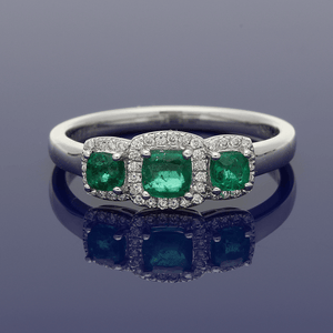 Platinum Emerald & Diamond Trilogy Cluster Ring