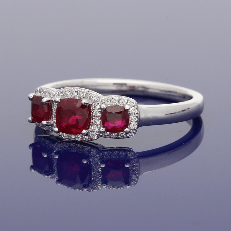 Platinum Ruby & Diamond Trilogy Cluster Ring