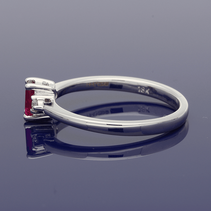 18ct White Gold Ruby & Diamond Trilogy