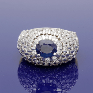 18ct White Gold and Yellow Gold Sapphire and Diamond Large Bombe Ring