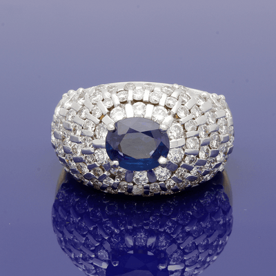 18ct White & Yellow Gold Sapphire and Diamond Large Bombe Ring