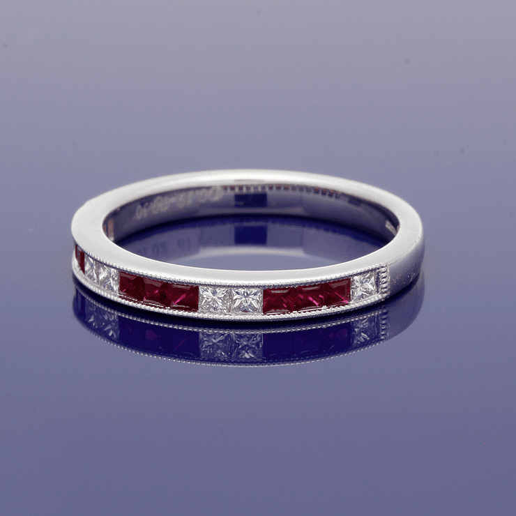 18ct White Gold Ruby & Diamond Eternity Ring
