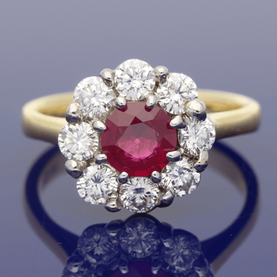 18ct Yellow Gold Ruby & Diamond Daisy Cluster Ring