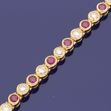 9ct Yellow Gold Diamond & Ruby Line Bracelet