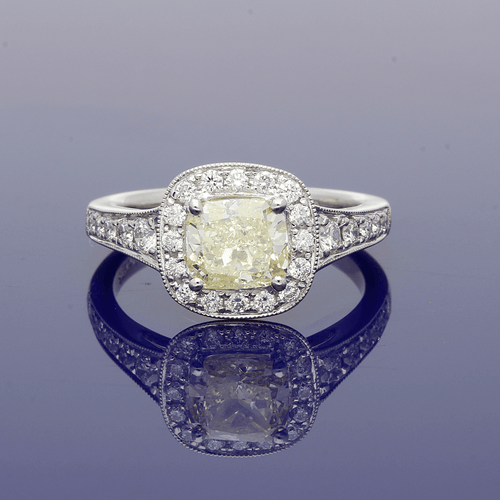 Platinum Natural Yellow & White Diamond Halo Cluster Ring