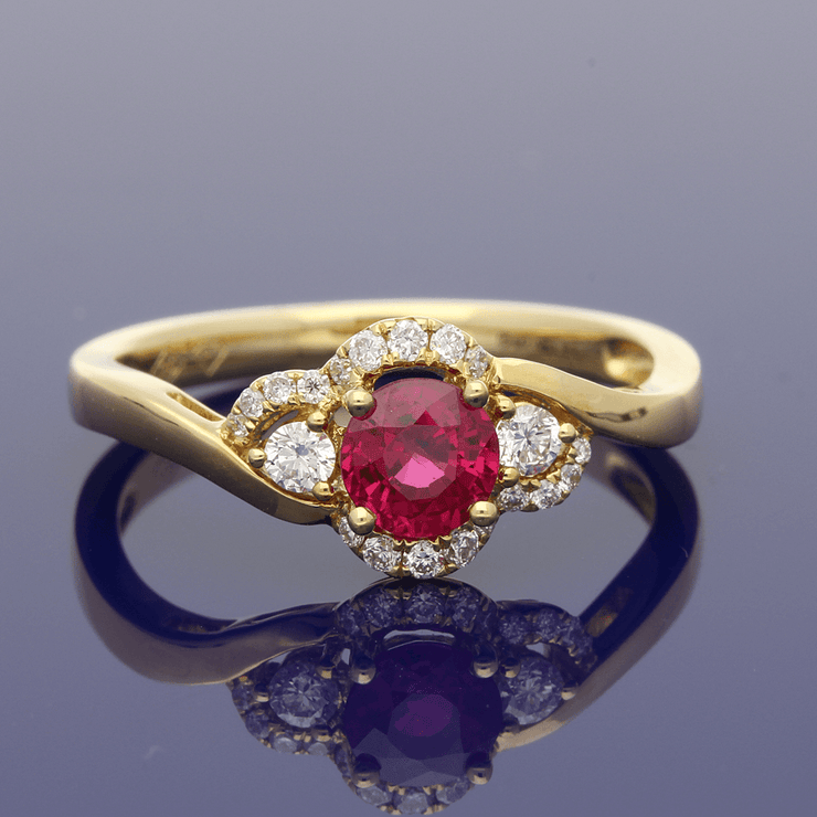 18ct Yellow Gold Ruby & Diamond Twist Cluster Ring