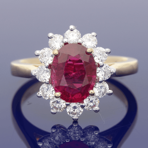 18ct White Gold Ruby & Diamond Oval Cluster Ring