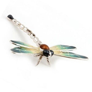 Silver Enamel Dragonfly - Large