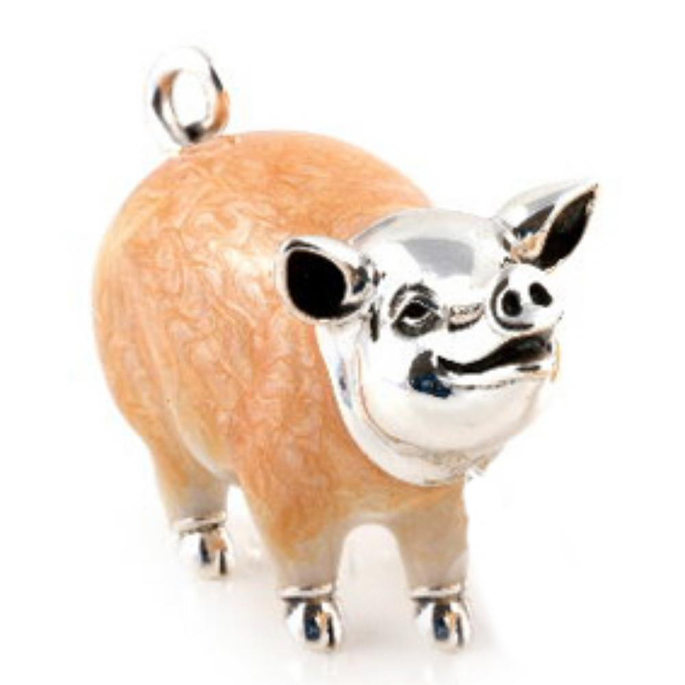 Silver Enamel Chubby Pink Pig - Large