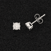 18ct White Gold Diamond 0.37ct Illusion Set Stud Earrings