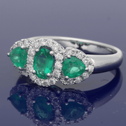 18ct White Gold Emerald & Diamond Trilogy Cluster Ring