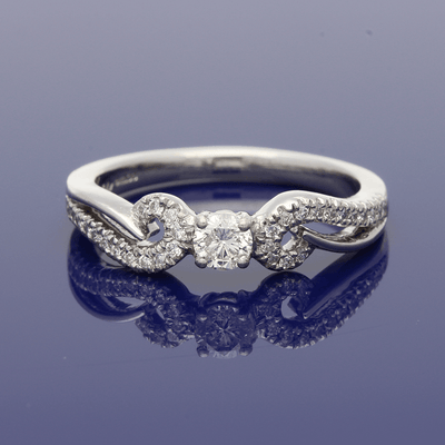 Platinum 0.35ct Diamond Ring with Pave Set Scroll Shoulders