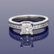 Platinum 0.91ct Certificated Princess Cut Solitaire Ring with Diamond Set Shoulders