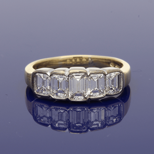 18ct Yellow Gold Emerald Cut Diamond 5 Stone Ring