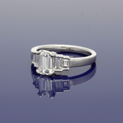 Platinum Emerald Cut & Baguette Cut Diamond Five Stone Ring