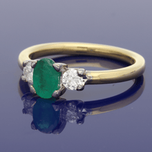 18ct Yellow Gold  Emerald & Diamond Trilogy