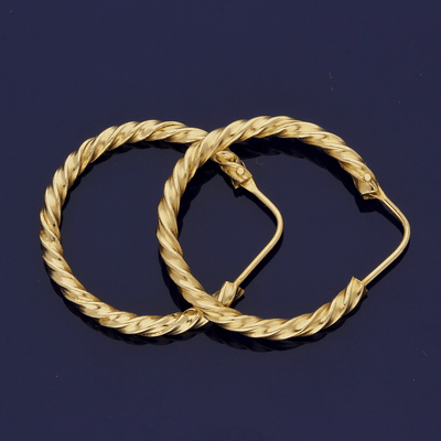 18ct Yellow Gold Twist Design Hoop Earrings