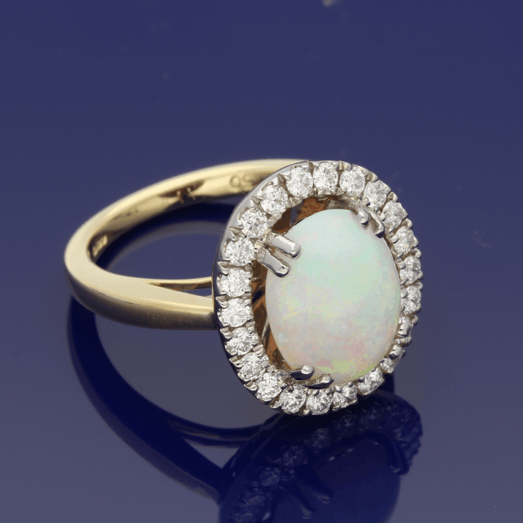 18ct White & Yellow Gold Opal & Diamond Oval Cluster Ring