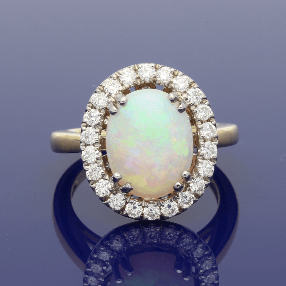 18ct White Gold and 18ct Yellow Gold Opal & Diamond Oval Cluster Ring