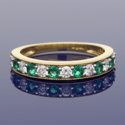 18ct Yellow Gold  Emerald & Diamond Eternity Ring