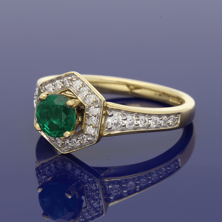18ct Yellow Gold Emerald & Diamond Halo Cluster Ring