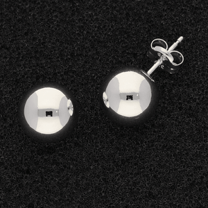9ct White Gold 9mm Ball Stud Earrings