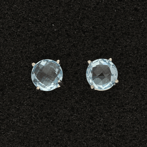18ct White Gold Blue Topaz Round Stud Earrings
