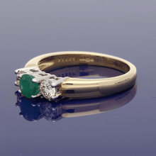 9ct Yellow Gold Emerald & Diamond Trilogy