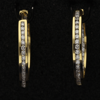 18ct Yellow Gold Double Sided Diamond Hoop Earrings, 1.00ct