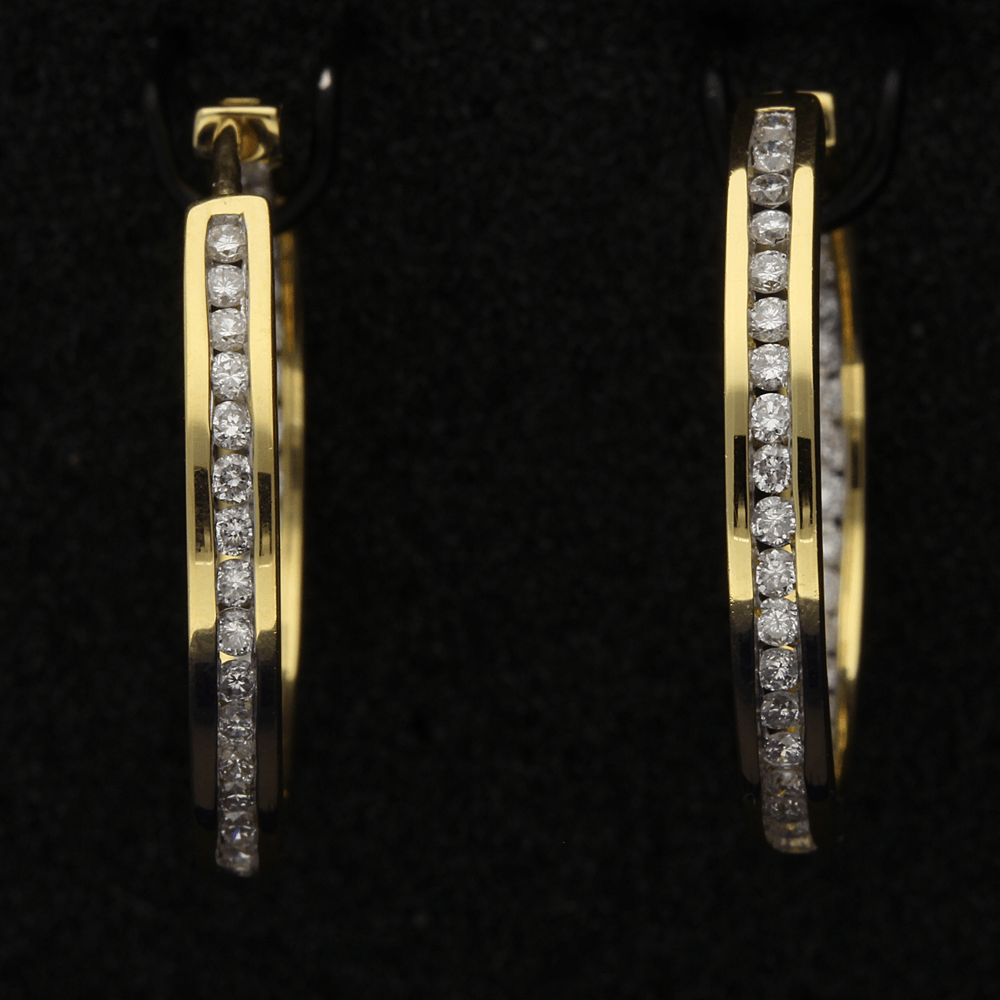 18ct Gold Diamond hoop earrings, 1.00ct