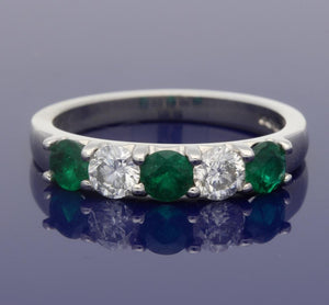 Platinum Emerald & Diamond 5-Stone Ring