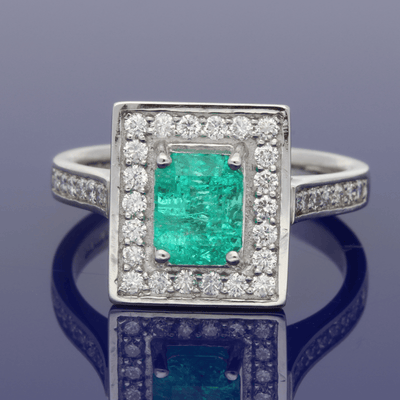 Platinum Emerald & Diamond Dress Ring