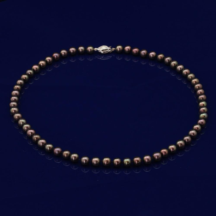 7-7.5mm Black Fresh Water Pearl Necklace