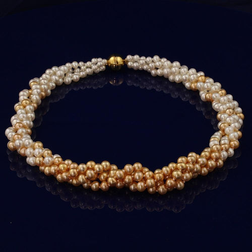 6.5-7mm Fresh Water Pearl 4-Row Twist Necklace