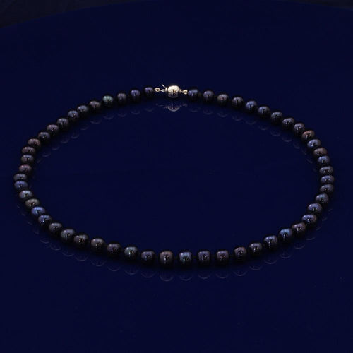 7-7.5mm Black/Navy Fresh Water Pearl 17' Necklace 18CT WG Clasp