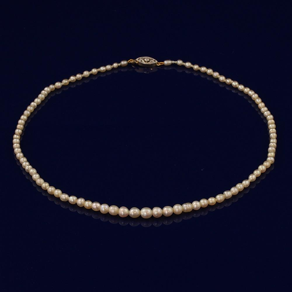 Antique Genuine Natural Akoya Pearl Necklace