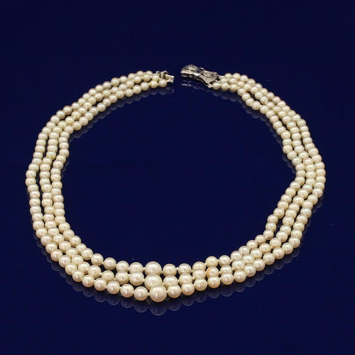 Graduated Akoya Pearl 3-Row Necklace