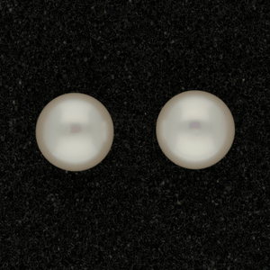 9mm White Fresh Water Pearl 9ct Stud Earrings