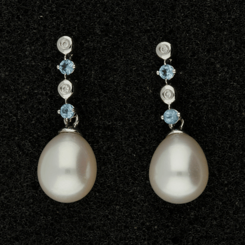 Fresh Water Pearl, Blue Topaz & Diamond 9ct Drop Earrings
