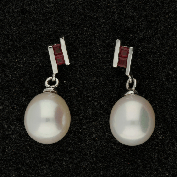 Fresh Water Pearl & Ruby 9ct Drop Earrings