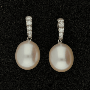 Fresh Water Pearl & Diamond 18ct Drop Earrings
