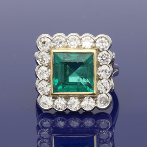 18ct White Gold Square Cut Emerald 5.05ct & Old Cut Diamonds 1.90ct, Claw Set Cluster Ring