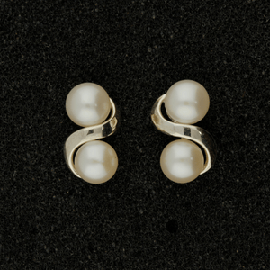 Fresh Water Pearl Silver Twist Double Stud Earrings