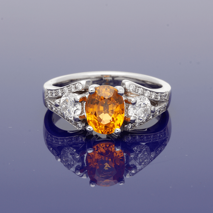 Platinum Mandarin Garnet & Diamond Trilogy Ring