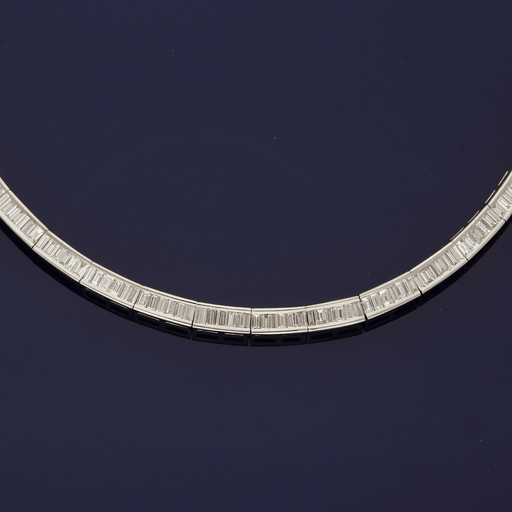 14ct White Gold Channel Set Baguette Cut Diamond 15ct Collar Necklace