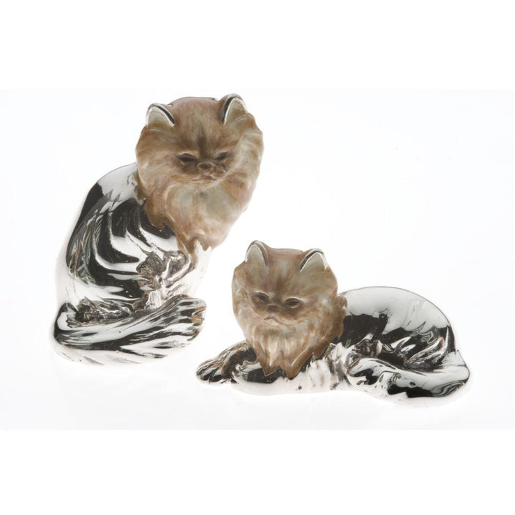 Silver Enamel Persian Cat - Large