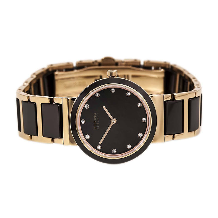 Ladies 29mm 2 Tone Ceramic And Rose Pvd Stainless Steel Bering Bracelet Watch