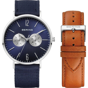 Mens Classic 40mm Stainless Steel Bering Double Strap Watch